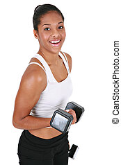 Healthy Looking Young African American Female Lifting Weight...