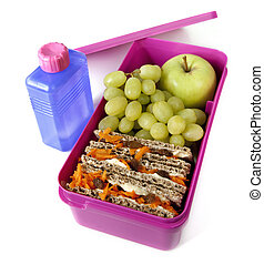 Healthy Lunch Box - Pink lunch box packed with a healthy...