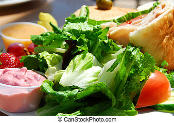 Healthy lunch of salad and sandwich