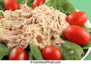 tuna salad - healthy lunch of tuna salad with cherry...