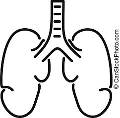 Healthy lungs icon, outline style