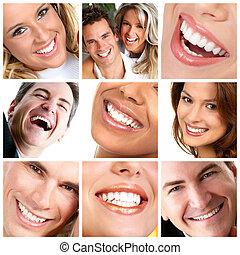 Healthy man and woman teeth.