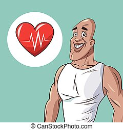healthy man athletic heart beat icon