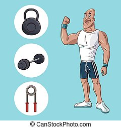 healthy man athletic muscular gym equipment