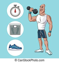 healthy man athletic muscular weight scale sneaker