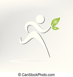 Healthy man figure logo - Healthy and happy runner icon...
