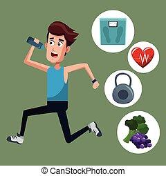 healthy man running sport icons