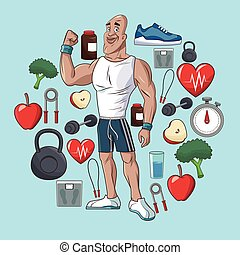 healthy man sport food concept elements