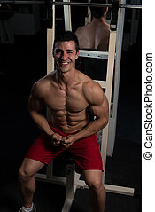 Healthy Man With Six Pack - Handsome Man Sitting Strong In ...