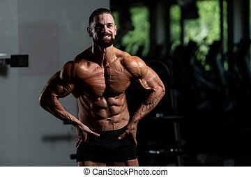 Healthy Man With Six Pack - Handsome Young Man Standing...
