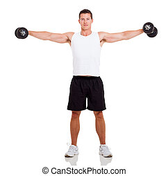 healthy man working out with dumbbells