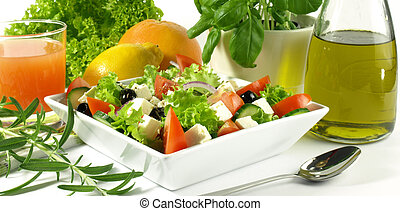 Healthy meal - Salad, olive oil, citrus and herbs are basic...