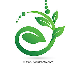 Healthy meaning in a plant shape logo vector icon