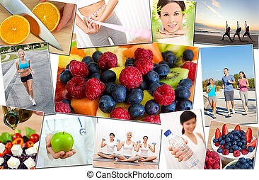 Montage of interracial men, women people working out at gym, active exercising on the beach, yoga, jogging running and enjoying healthy food, fruit & vegetables