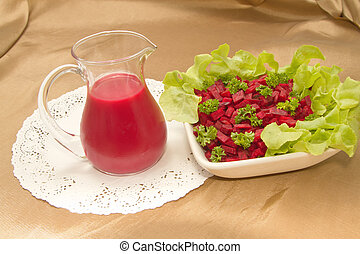 healthy menu ,Beetroot juice and salad