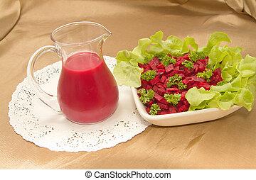 healthy menu ,Beetroot juice and salad