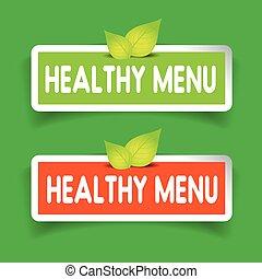 Healthy menu label vector set