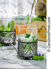 Healthy mint tea with honey