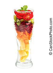 Healthy mix fruit cocktail in glass for healthy juice