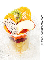 Healthy mix fruit in glass for healthy juice on white background