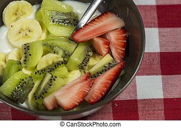 Healthy mix fruit yogurt prepare for meal