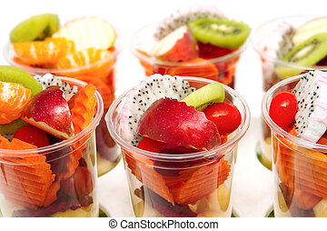 Healthy mix of different summer fruits and vegetable
