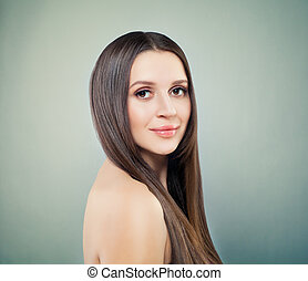 Healthy Model Woman Smiling, Spa Portrait on Green Background with Copy space