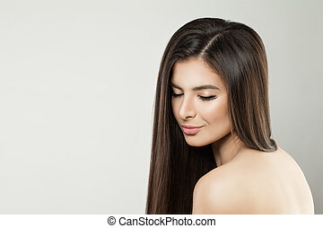Healthy Model Woman with Long Dark Hair