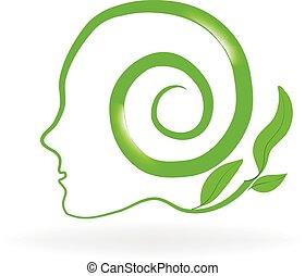 Healthy natural head brain logo
