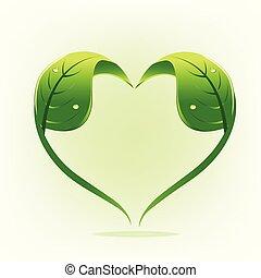 Healthy nature leafs love symbol logo