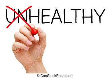 Hand turning the word Unhealthy into Healthy with red marker isolated on white.