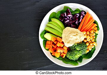 Healthy nourishment bowl with super-foods and fresh mixed...