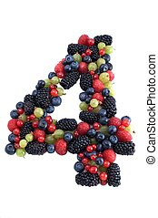 Healthy number 4 - Number four made of several kinds of...
