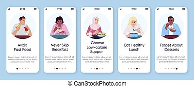 Healthy nutrition plan onboarding mobile app screen vector ...
