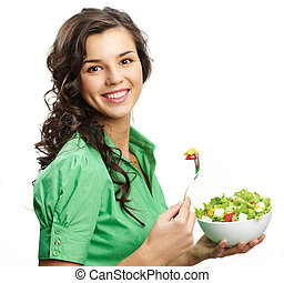 Healthy nutrition - Portrait of a girl with bawl of salad...