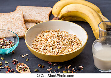 healthy oatmeal with ingredients