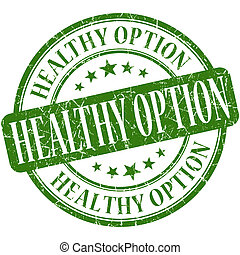 Healthy option green round grungy vintage rubber stamp