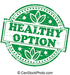 "Rubber stamp illustration showing ""HEALTHY OPTION"" text"