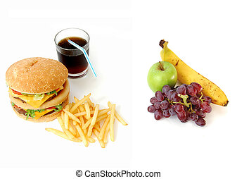 Lifestyle choice between junk food and fruit