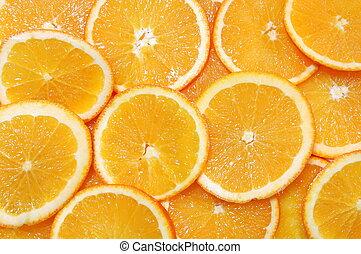 healthy orange fruit background with sliced oranges