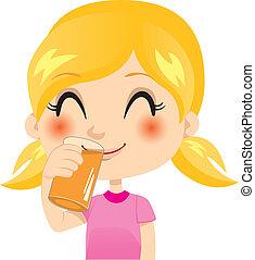 Healthy Orange Juice - Pretty little blond girl drinking...