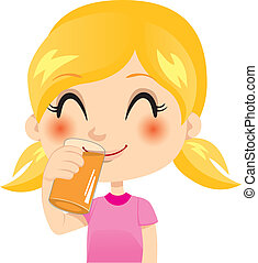 Pretty little blond girl drinking orange juice