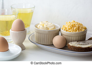 boiled eggs with bread