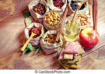 Healthy organic food, healthy vegetarian food on wooden table