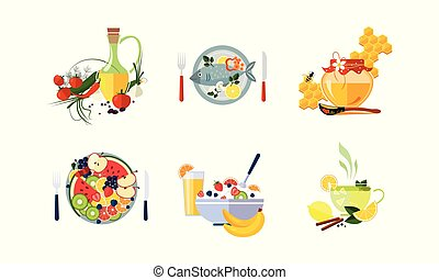 Healthy organic food set, vegetarian menu vector Illustration on a white background