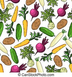 Healthy fresh crunchy carrots and cucumbers, organic ripe potatoes and beetroots, juicy celery with green leaves and daikons vegetables seamless pattern on white background