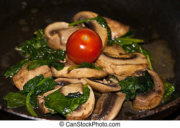 Healthy, organic low fat meal made of mushrooms, tomatoes ...