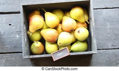 Healthy Organic Pears - Vegan food concept, vintage style -...