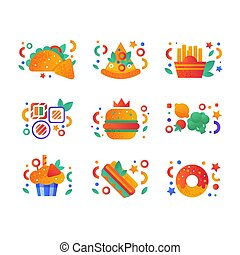 Healthy organic products and fast food set, taco, nachos, pizza, sushi, cupcake, french fries, hot dog, donut vector Illustration on a white background