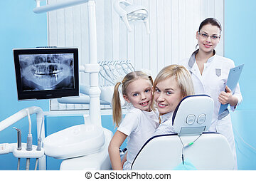 Healthy patients - Mom with a child to the dentist in the ...